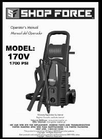 SHOP FORCE 170V Electric Power Washer Replacement Parts & Owners Manual