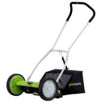 "GREENWORKS 16"" REEL MOWER WITH BAG"