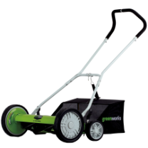 "GREENWORKS 18"" REEL MOWER WITH BAG"