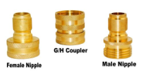 GARDEN HOSE COUPLER SET, BRASS