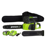 GREENWORKS 40V 4.0AH CORDLESS CHAIN SAW, BRUSHLESS (SKU: 20312)