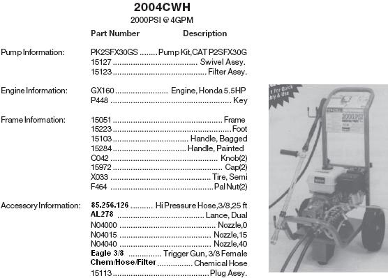 2004CWH pressure washer parts