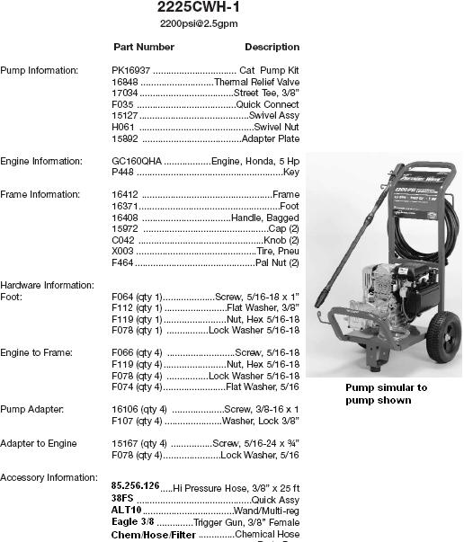 Excell 2225CWH-1 pressure washer parts