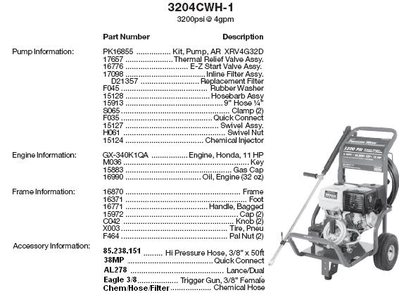 Excell 3204CWH-1 pressure washer parts