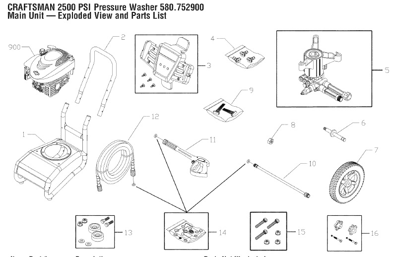Sears Craftsman Power Washer 580752900 Replacement Parts
