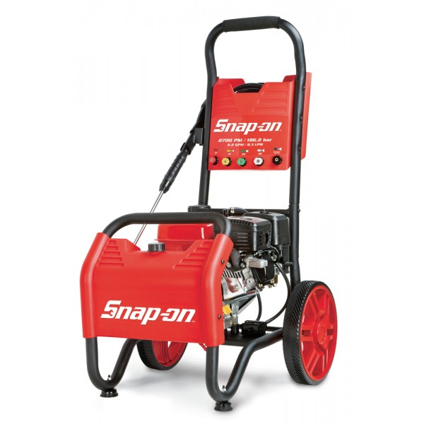 Snap-on pressure washers combine the most advanced features with the performance and durability expected of Snap-on. This Snap-on™ 870599 2,700 PSI gasoline pressure washer is powered by a durable, high-performance 7HP engine coupled to an industrial triplex pump that flows 2.2 gallons per minute.  Easy pressure output adjustment from 1 to 2,700 PSI, depending on spray nozzle in use.  1 gallon on-board detergent tank.