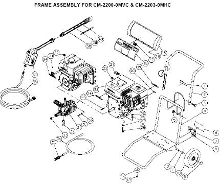 Cm 2200 0mvc Cm2203 0mhc Water Pressure Washer Parts Breakdown