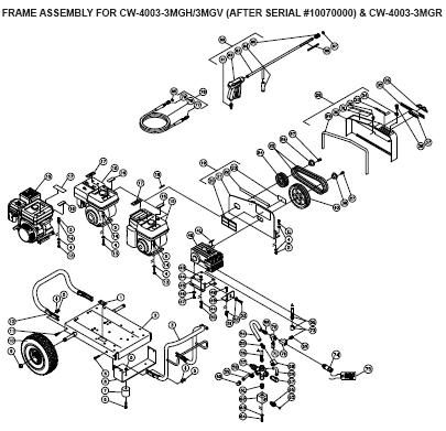 CW-4003-3MGH Pressure Washer Parts, Pumps, Repair Kits, Breakdowns & Manuals