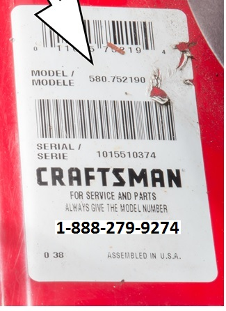 Sears Craftsman model number sticker