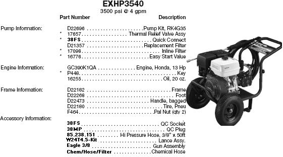 Excell EXHP3540 pressure washer parts