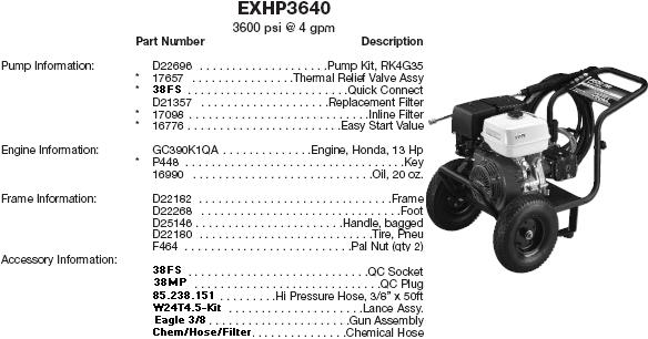 EX-CELL EXHP3640 PRESSURE WASHER REPLACEMENT PARTS