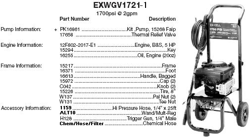 EXCELL EXWGV1721 PRESSURE WASHER REPLACEMENT PARTS