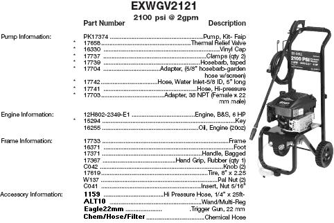 Excell EXWGV2121 pressure washer parts