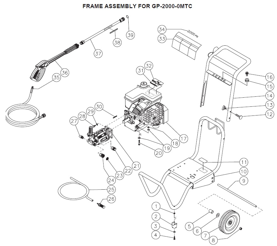 GP-2000-0MTC REPLACEMENT PARTS PAGE