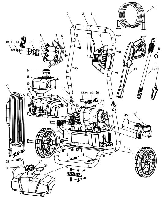 GREENWORKS Pressure Washer Parts, Breakdown & Owners Manual