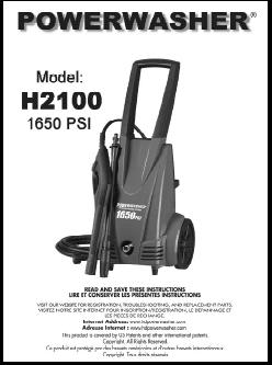H2100 POWER WASHER Replacement Parts & Owners Manual