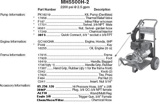 MONSOON MH5500-2 PRESSURE WASHER REPLACEMENT PARTS