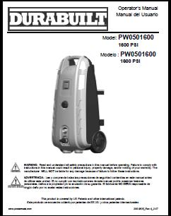 Powewmate Durabuilt PW0501600 Electric Pressure Washer Replacement Parts & Owners Manual