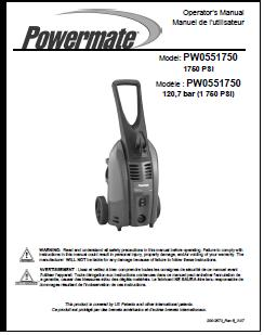 Powewmate Durabuilt PW0551750 Electric Pressure Washer Replacement Parts & Owners Manual