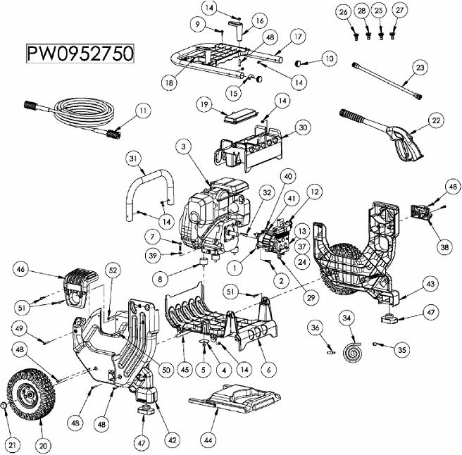 Coleman powermate pressure washer PW0952750 replacement parts