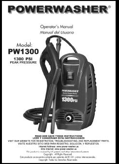 Pw1300 Power Washer Brand Electric Pressure Washers Parts