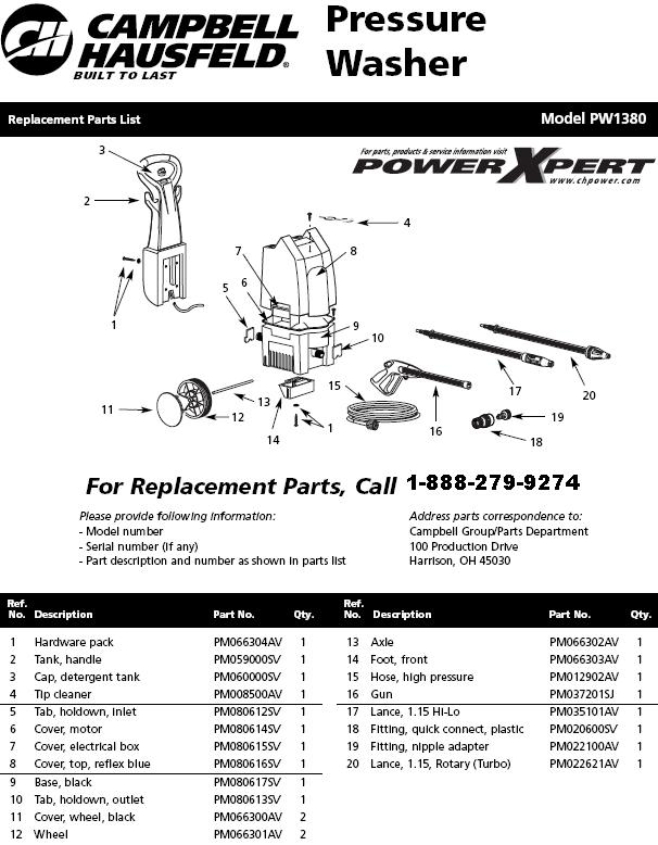 Campbell Hausfeld Pw138000 Pressure Washer Parts