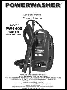 PW1400 Electric Power Washer Replacement Parts & Owners Manual