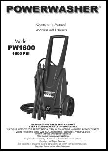 PW1600-PWS1600 Electric Power Washer Replacement Parts & Owners Manual