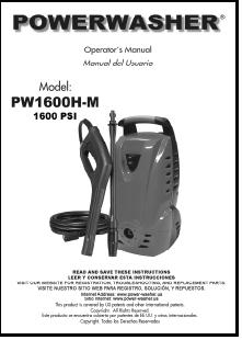 PW1600-VTH Electric Power Washer Replacement Parts & Owners Manual