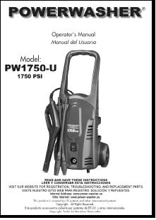 PW1750 Electric Power Washer Replacement Parts & Owners Manual