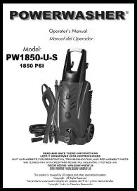 PW1850-U-S Electric Power Washer Replacement Parts & Owners Manual