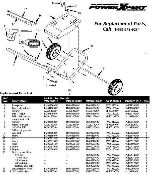 Campbell Hausfeild PW3019 pressure washer replacment parts