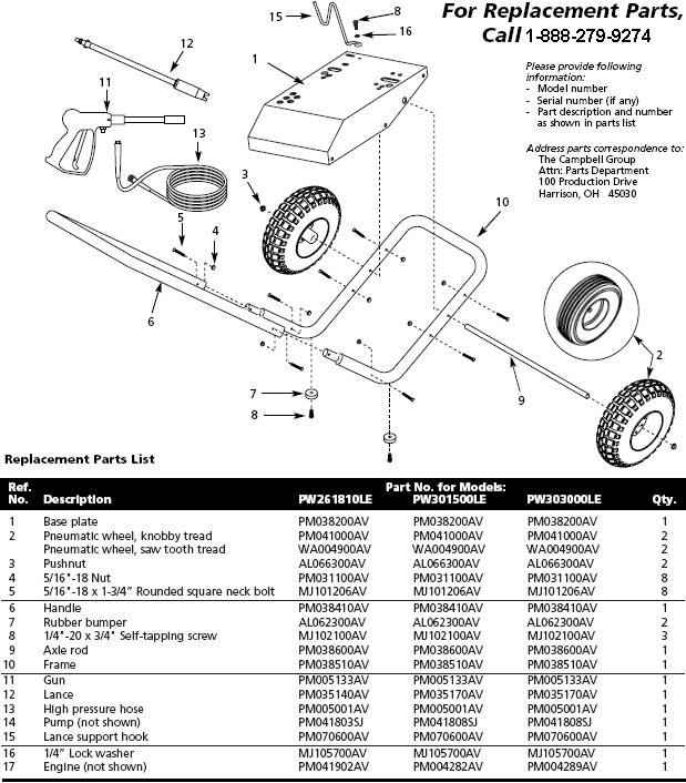 Campbell Hausfeld PW2618 pressure washer replacement parts
