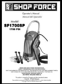 SHOP FORCE SF1700SP Electric Power Washer Replacement Parts & Owners Manual