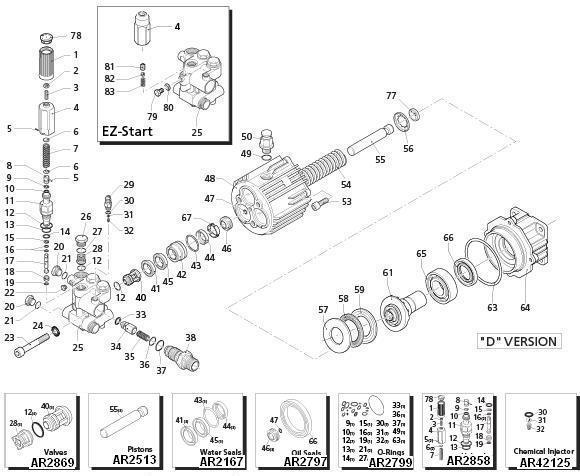 EX-CELL Pressure Washer Model XR2750 Replacement Parts