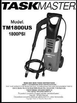 S1800 POWER WASHER PARTS, BREAKDOWN & MANUAL