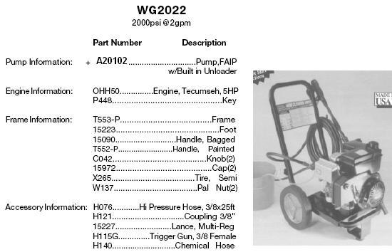 EXCELL DEVILBISS WG2022 FAIP PRESSURE WASHER REPLACEMENT PARTS