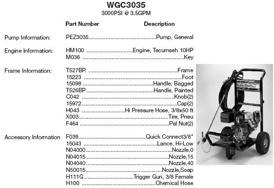 WATER DRIVER WGC3035 GENERAL PUMP PRESSURE WASHER REPLACEMENT PARTS