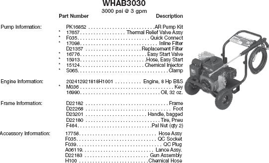 WATER DRIVER WHAB3030 PRESSURE WASHER REPLACEMENT PARTS