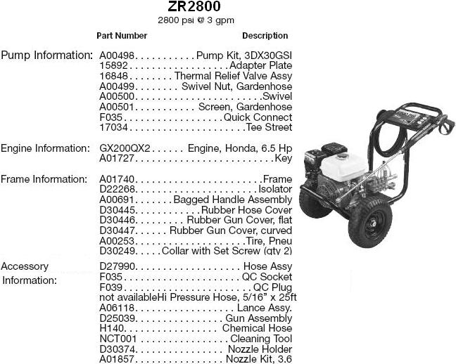 EXCELL Pressure Washer Model ZR2800 replacement parts