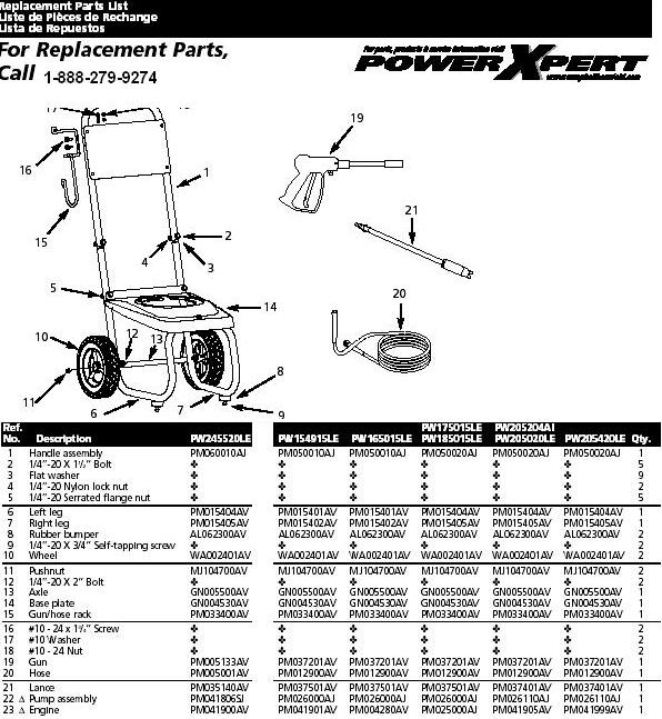 Campbell Hausfeld PW205020LE pressure washer replacment parts