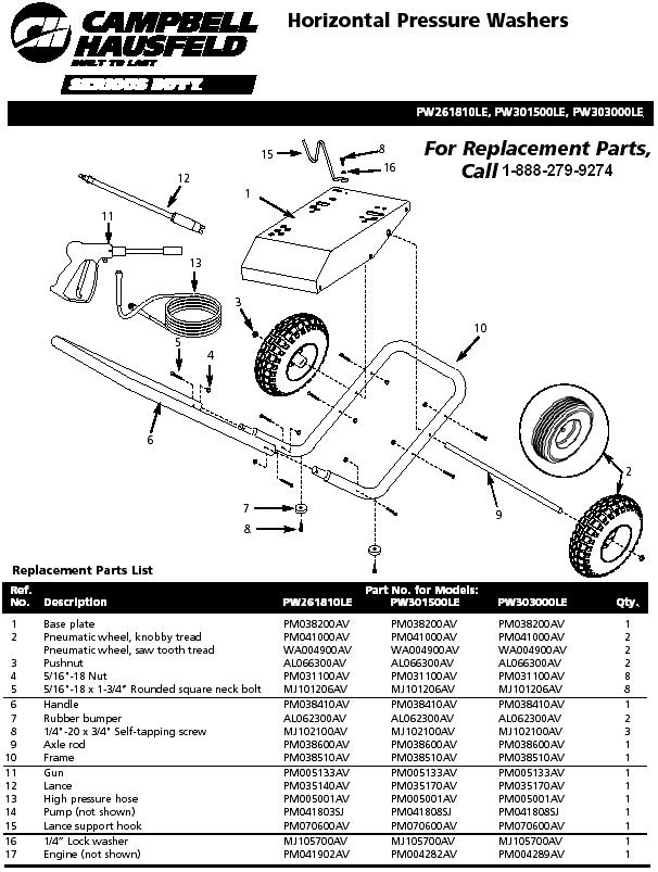 Campbell Hausfeld PW303000LE pressure washer replacment parts