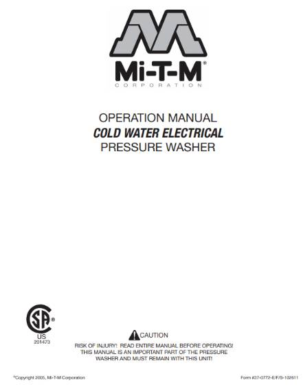 CM-ELECTRIC SERIES Owners Manual